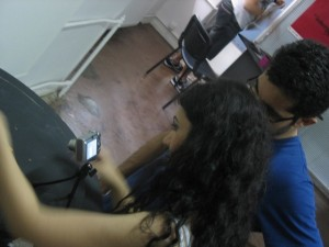Damla and Canan working on their animation